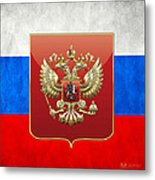 Coat Of Arms And Flag Of Russia Metal Print