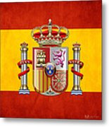 Coat Of Arms And Flag Of Spain Metal Print