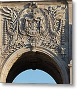 Coat Of Arms Of Portugal On Rua Augusta Arch In Lisbon Metal Print