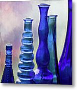 Cobalt Blue Bottles Metal Print