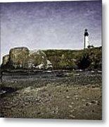 Cobble Beach At Yaquina Lighthouse Metal Print