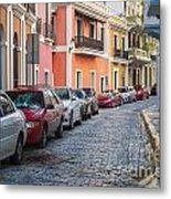 Cobblestone Streets Of San Juan Puerto Rico Metal Print