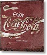 Coca Cola Faded Sign Metal Print
