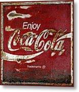 Coca Cola Red Grunge Sign Metal Print