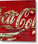 Coca Cola Sign Cracked Paint Metal Print