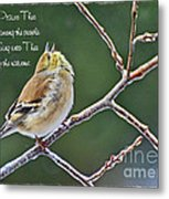Cock-a-doodle Doo Gold Finch-with Verse Metal Print