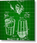 Cocktail Mixer And Strainer Patent 1902 - Green Metal Print