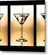 Cocktail Triptych In Gold Metal Print