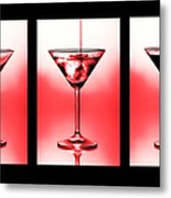 Cocktail Triptych In Red Metal Print