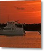 Cabin Cruiser And Red Sunset Over Harbour Metal Print