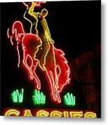 Cody Wyoming Neon Lounge Sign At Night Metal Print