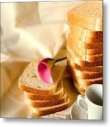 Coffe Bread And Flower In A  White Background Metal Print