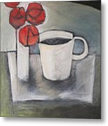 Coffee And Roses Metal Print