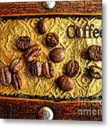 Coffee Beans And Wood Metal Print