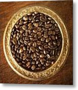 Coffee Beans On Antique Silver Platter Metal Print
