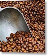 Coffee Beans With Scoop Metal Print