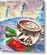 Coffee Break In Spili In Crete Metal Print