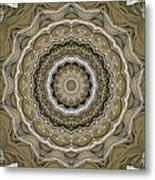 Coffee Flowers 2 Ornate Medallion Olive Metal Print