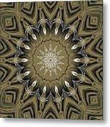 Coffee Flowers 4 Olive Ornate Medallion Metal Print