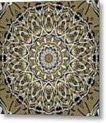 Coffee Flowers 7 Olive Ornate Medallion Metal Print