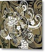 Coffee Flowers 8 Olive Metal Print