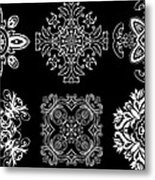 Coffee Flowers Ornate Medallions Bw 6 Peice Collage Metal Print