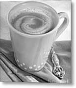 Coffee In Tall Yellow Cup Black And White Metal Print