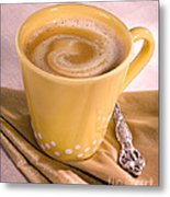 Coffee In Yellow Cup Metal Print