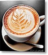 Coffee Latte With Foam Art Metal Print by Elena Elisseeva