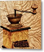 Coffee Mill And Beans In Grunge Style Metal Print