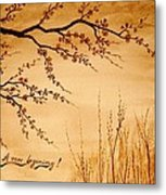 Coffee Painting Cherry Blossoms Metal Print by Georgeta  Blanaru