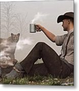 Coffee With A Cougar Metal Print