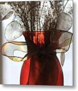 Coin Flowers And Red Vase Metal Print