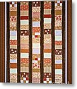 Coin Quilt -  Painting - Brown And White Patches Metal Print