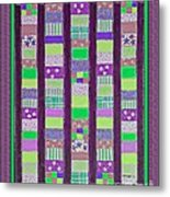 Coin Quilt - Quilt Painting - Purple And Green Patches Metal Print