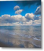 Cold And Windy Beach Day Metal Print