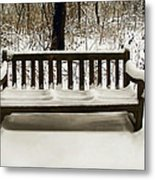 Cold Bench Metal Print