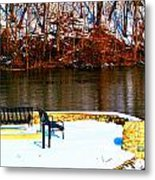 Cold Benches Metal Print