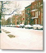 Cold Day In Montreal Pointe St Charles Art Winter Cityscene Painting After Big Snowfall Psc Cspandau Metal Print