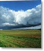 Cold Front Storm Clouds Over Fields Metal Print