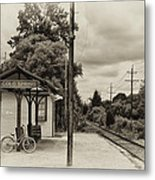 Cold Spring Train Station In Sepia Metal Print