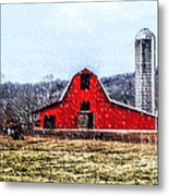Cold Winter Day At The Farm Metal Print