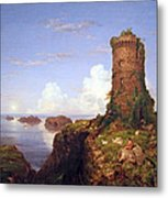 Cole's Italian Coast Scene With Ruined Tower Metal Print