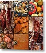 Collage - Corn - Pumpkins - Gourds - Elena Yakubovich Metal Print