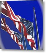 Collage Half Mast Flag Honoring President Ronald Reagan Number 2 Casa Grande Az  2004-2013 Vignetted Metal Print