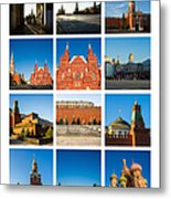 Collage - Red Square In The Morning Metal Print