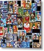 Collage Snowman Horz Photo Art Metal Print