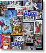 Collage Xmas Cards Vertical Photo Art Metal Print
