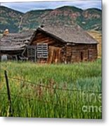 Collapsed Log House In Utah Metal Print