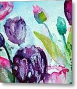 Collecting Pink And Purple Tulips Metal Print